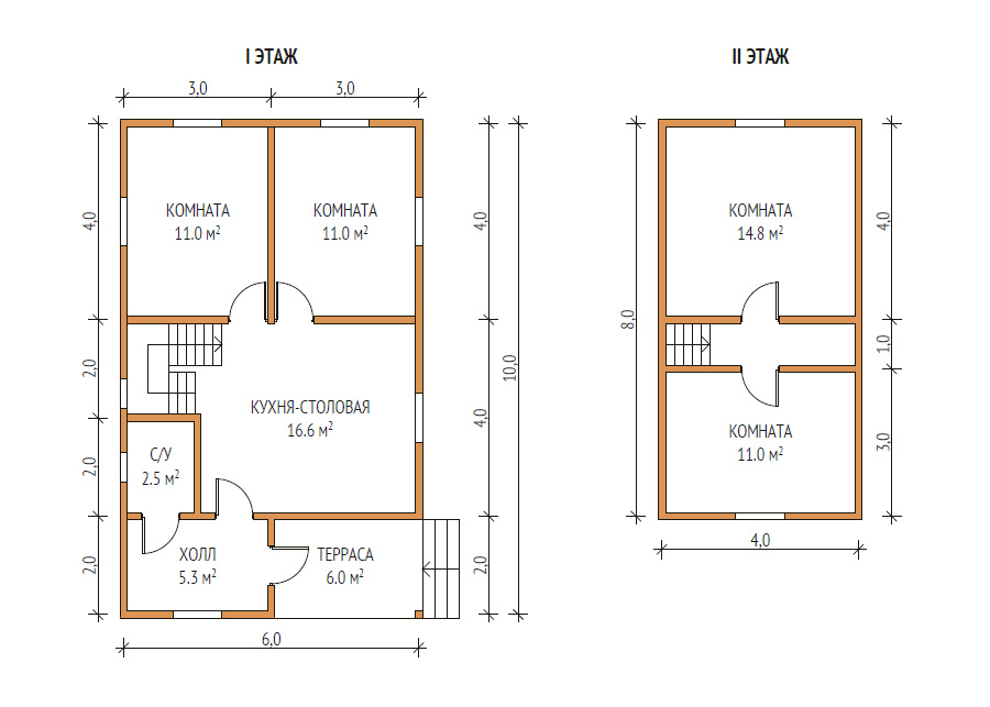 план дома 6х10
