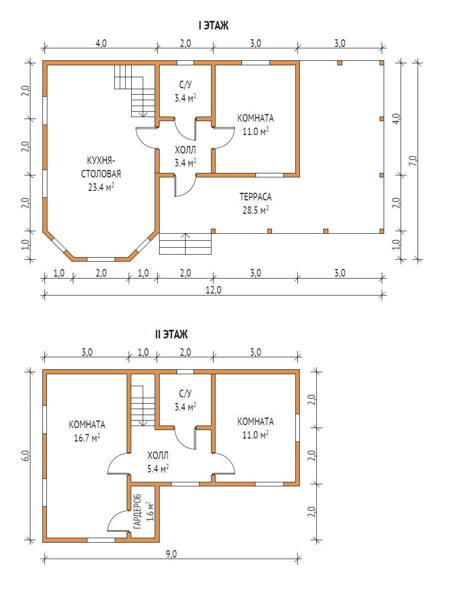 план дома 7х12