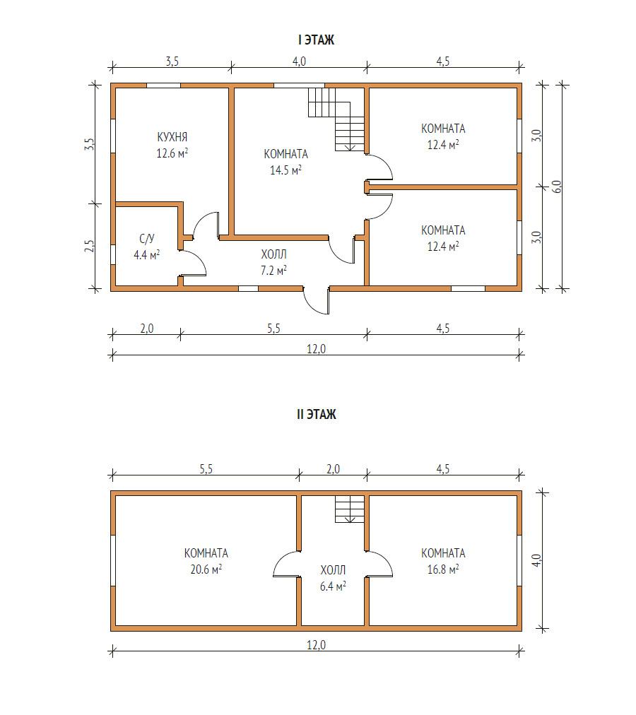 план дома 6х12
